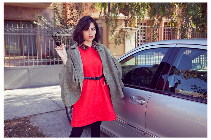 Red dress, grey cape
