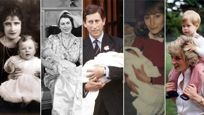 The royals as babies: Queen Mother with Queen, Queen with Charles, Charles with William, Carole Middleton with Kate, Princess Diana with Harry. Pictures: Getty Archive and Media Mode.