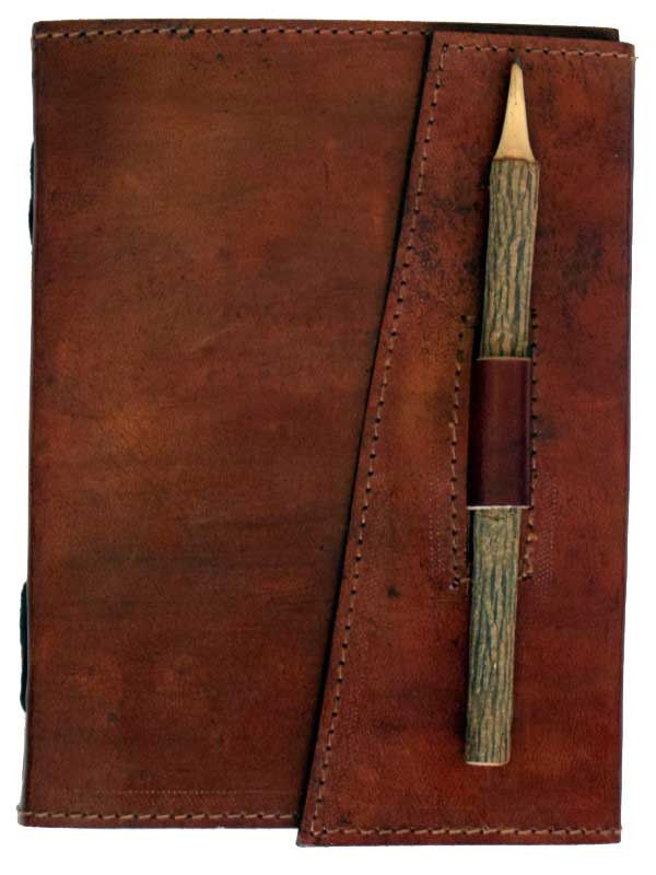 This handmade leather Book of Shadows is simple but elegant; no one will no what is inside its pages from the outside. Includes 120 blank pages of handmade linen parchment, a rustic wooden pencil, and