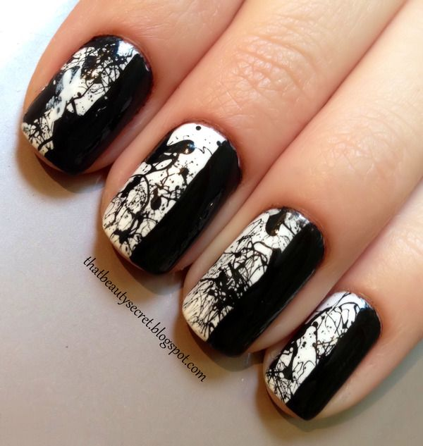 Monochrome Splatter #nails #nailart