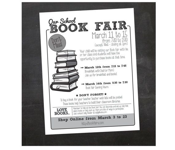 If you are planning a Book Fair for your school or another organization we can make it super easy for you.    CUSTOM FLYER - 8.5 x 11 - comes