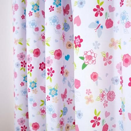 Disney Ditsy Floral White, Pink and Blue Princess Blackout Pencil Pleat Curtains