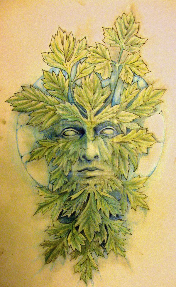 The Green Man is a male aspect of the divine, shown in His summer glory. We have many artistic representatives of Him hanging on our walls and peaking out from obscure places. I am filled with peace and reminded of the strength of the forest whenever I see Him. This would make a good tattoo on my right arm, above my tree. I think this will be my next one