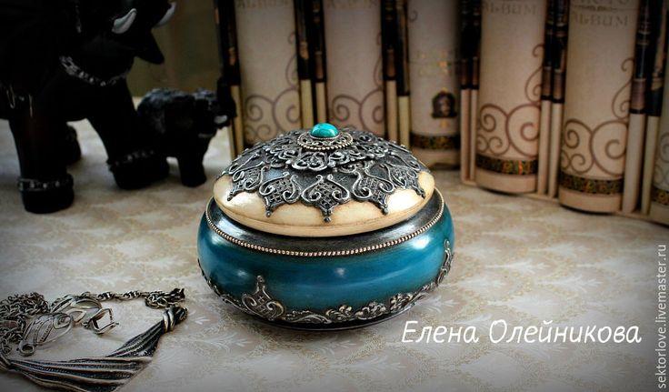 Купить шкатулка серебро с бирюзой - бирюзовый, шкатулка для украшений, шкатулка декупаж, шкатулка для мелочей