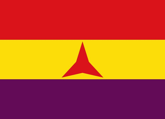 """Flag of the International Brigades.svg «<a href=""""http://commons.wikimedia.org/wiki/File:Flag_of_the_International_Brigades.svg#mediaviewer/File:Flag_of_the_International_Brigades.svg"""">Flag of the International Brigades</a>». Sous licence Domaine public via <a href=""""//commons.wikimedia.org/wiki/"""">Wikimedia Commons</a>."""