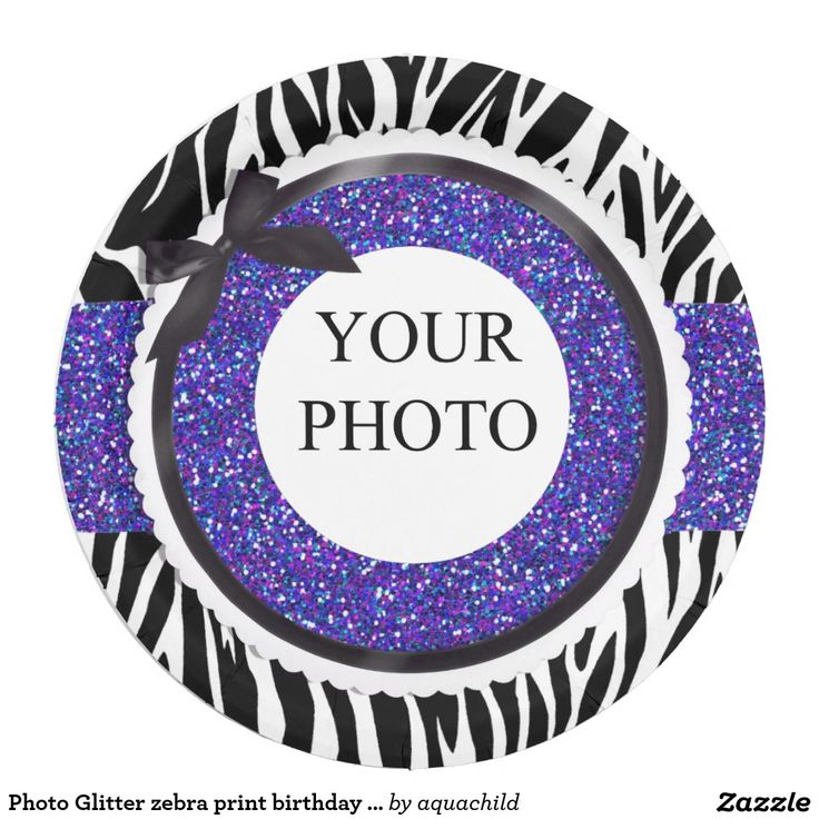 Photo Glitter zebra print birthday plate 9 Inch Paper Plate  sc 1 st  Pinterest & 90 best Customized birthday paper plates images on Pinterest ...