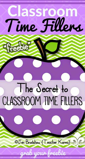 Secret to Classroom Time Fillers   Hello! JenBradshaw here fromTeacherKARMA.com  Students driving you CRAZY during transition times or after completing work... Grab this free resourceClassroom Time Fillers: Games & Activities for Transition Times.  Best wishes!  classroom behavior classroom organization classroom time fillers classroom transitions early finishers finished work teacherkarma.com time fillers transition times