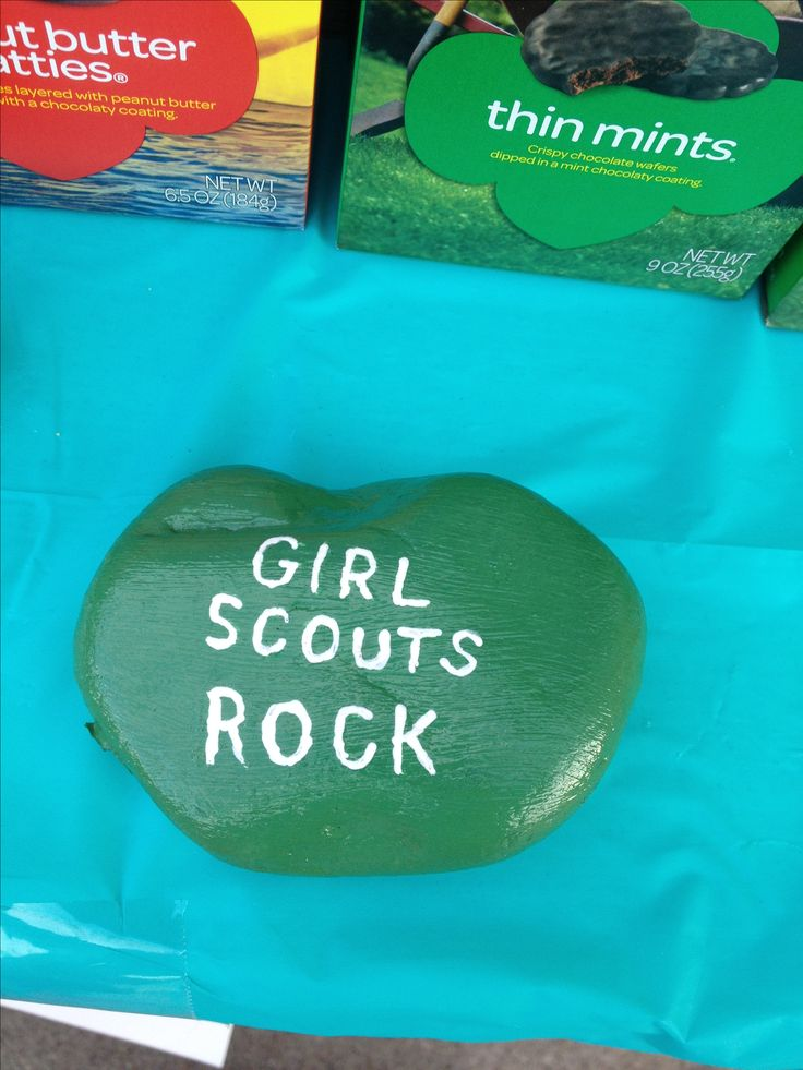 Girl Scout cookie booth Since we live in windy Lubbock Tx, found washed and painted rocks(acrylic and mod podge) for decoration but also to keep things from blowing away!