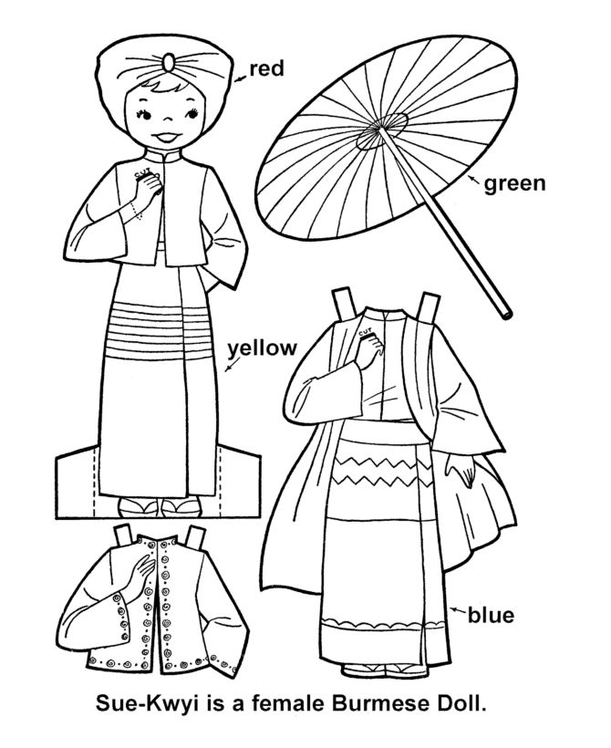 CHILDREN OF THE WORLD <=> BURMA - Girl Paper Doll Cut-Out Sheet  Collection of International paper dolls that provide a range of cultural/traditional costumes from various countries.