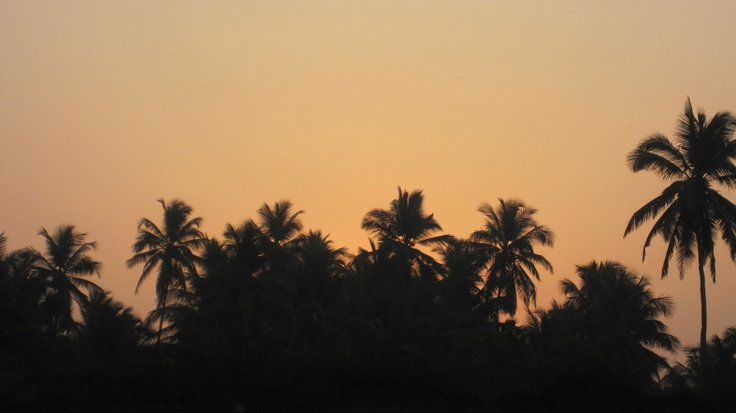 The sunrise over Mandrem beach in North Goa in India. Beautiful and peaceful morning walks.