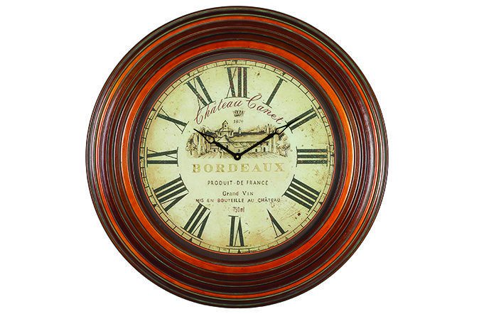 The Sidney Oversized Wall Clock will make a statement in any room setting. Featuring a thick circular frame in a teak finish this wall clock is sturdy and strong. French imagery and written detail on a distressed sepia clock face give a rustic feel. Large Roman numerals. 97cm. €199.95  http://www.michaelmurphy.ie/product/sidney-wall-clock/