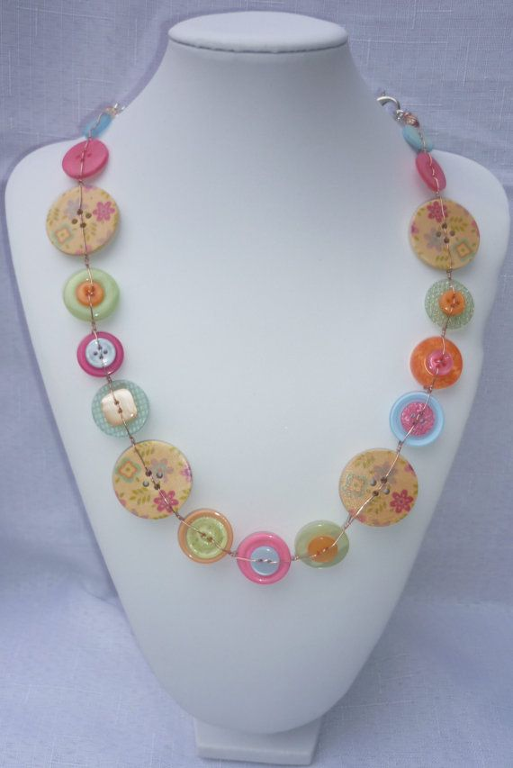 Colourful button necklace