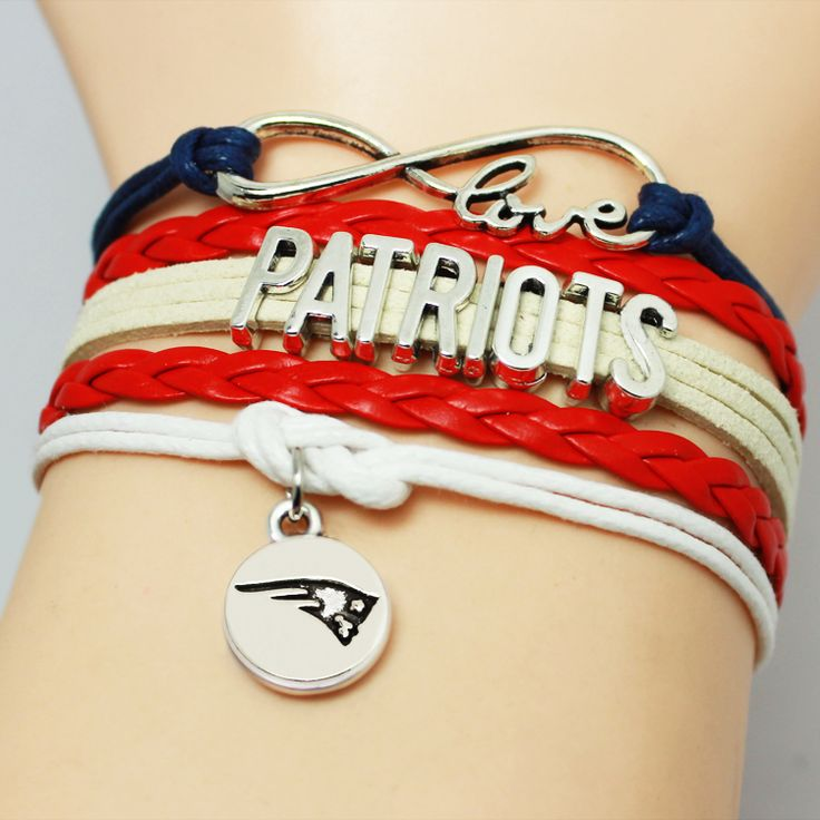 Infinity Love NFL New England Patriots Football Team Bracelet Blue Red Silver White Custom Sports Drop Shipping #Affiliate