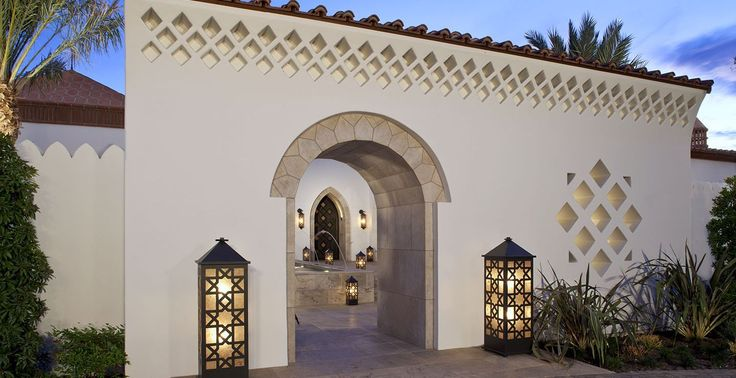 Fa ade of a moorish modern home designed by gordon stein for Moroccan house plans