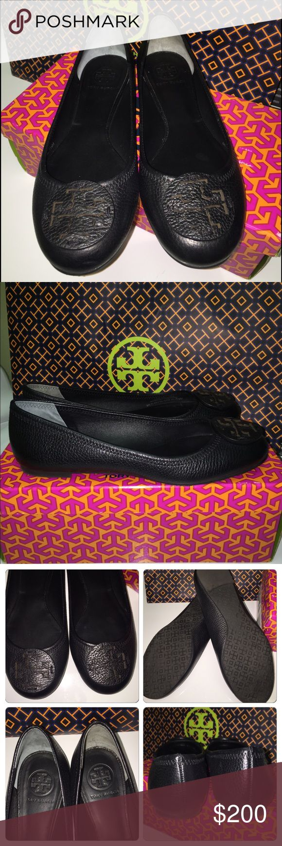 💫HP💫Tory Burch Reba Flat 7.5 Tumbled Leather EXCELLENT CONDITION! Worn only a few hours, minimal wear. Comes with box and shopping bag. Please ask any questions, thx for looking! Tory Burch Shoes Flats & Loafers
