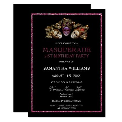 Glamorous Glitters  Masquerade 21st Birthday Card - birthday gifts party celebration custom gift ideas diy
