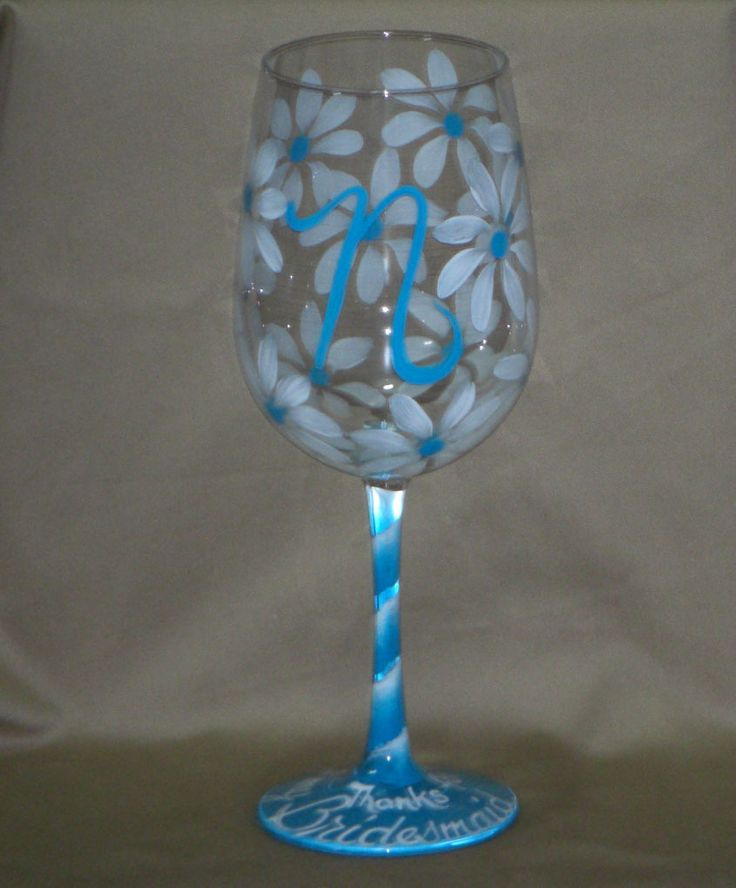 initials with daisies hand painted wine glass initials