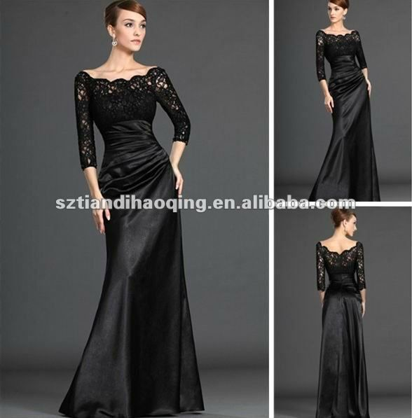 FAVORITO!! de manga larga de cintura alta negro sexy de encaje de la madre de la novia vestido de encaje negro-Vestido de noche-Identificación del producto:625161856-spanish.alibaba.com