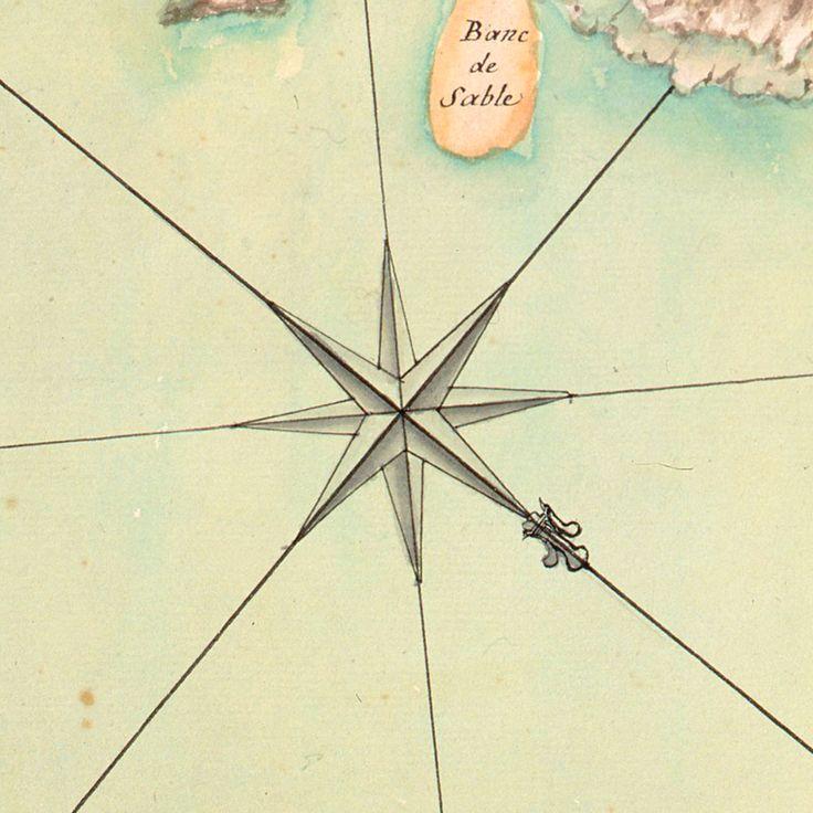Rose des vents - détail d'une carte de l'île de Noirmoutier, 1736 (c) Musée des Plans-reliefs, cote B93