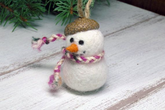 Christmas ornament Mini needle felted snowman wool by myfairydoll