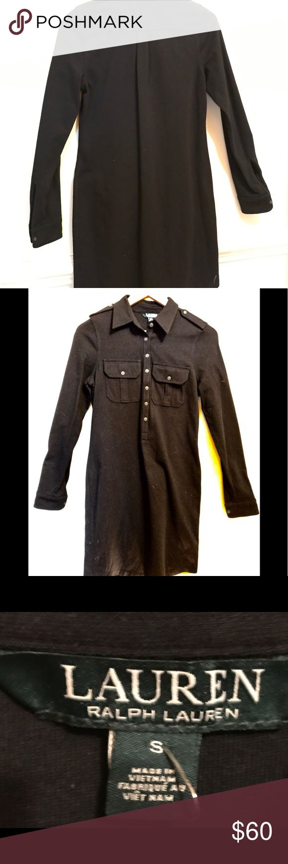 NWOT Ralph Lauren black shirt dress Never worn, beautifully cut, detailed & stitched black Ralph Lauren shirt dress.  Falls just below knee, long cuffed sleeves, shaped at waist. Softest medium weight 100% cotton, fits like a 2 or small 4. Perfect for work or casual, with or without a belt (not included) Ralph Lauren Dresses Long Sleeve