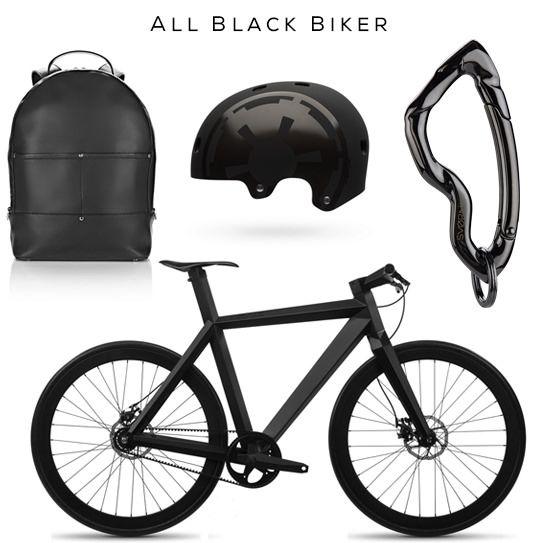 All Black Biker Clockwise: Backpack by Alexander Wang, Star Wars Darth Vader Ltd Edition by Bell, Arcus Carabiner by @svorndesign, BME X-9 Nighthawk Bicycle #allblack #backpack #edc #gear #helmet #bike #bicycle #carabiner #keychain #black