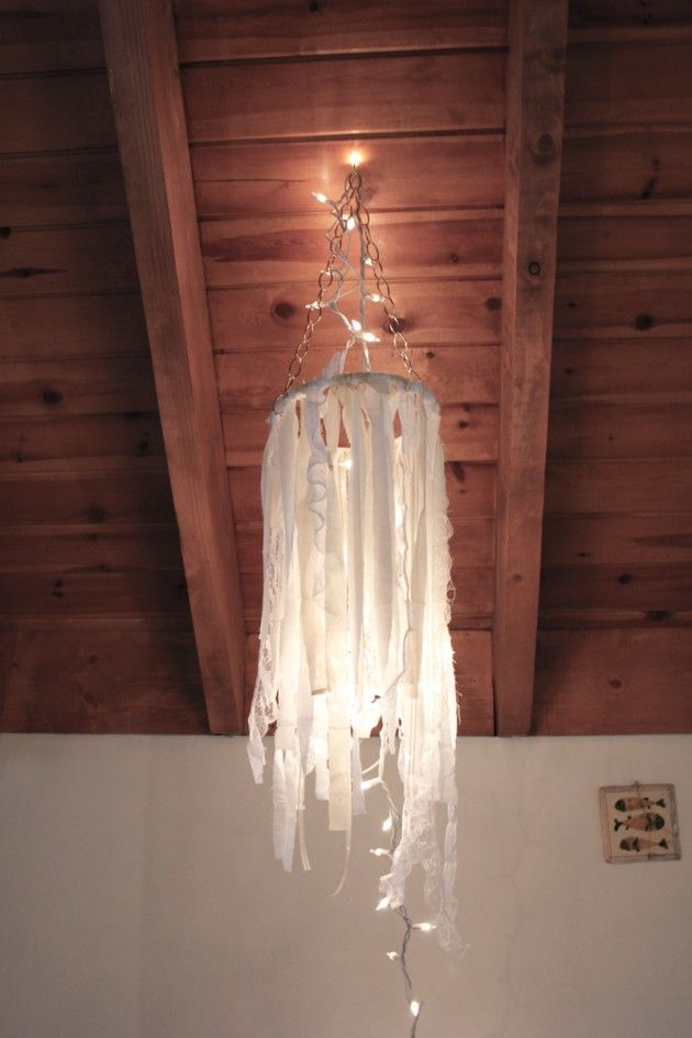 DIY whimsical chandelier  http://blog.boatpeopleboutique.com/diy-fabric-ribbon-chandelier