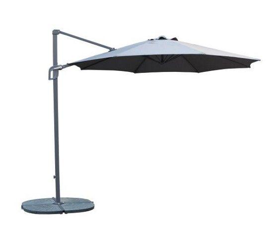 Sonnenschirm in der Farbe Anthrazit. Das Gestell ist aus Metall und der Schirm aus 100% Polyester. B/H/T: ca. 300/208/300cm.