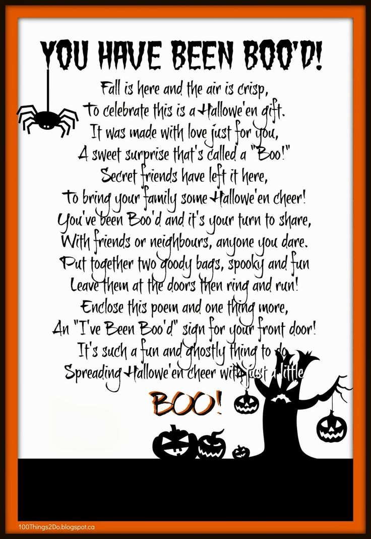 "Halowe'en You've been ""Boo'd"". Boo'd poem. Free printable ..."