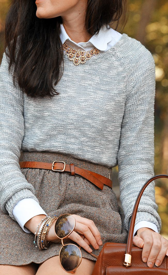 fall style // j crew skirt & anthro sweater // classic preppy style Shorten my tweed skirt, but not this short:)