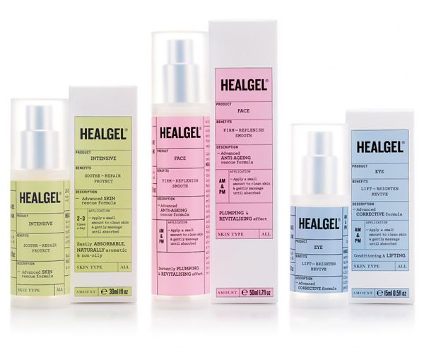 HealGel is a range of high quality skin care products, originally created to aid the repair of post-operative scarring, developed by actress Natascha McElhone. Packaging design by Pentagram.
