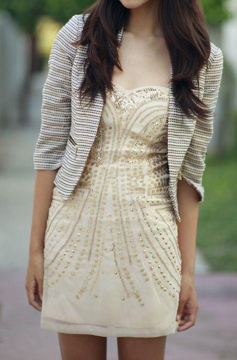 embellished dress + Jacket
