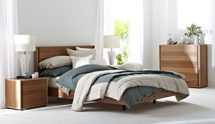Gap modern minimal light toned wooden bedroom furniture suite with grey, beige and white
