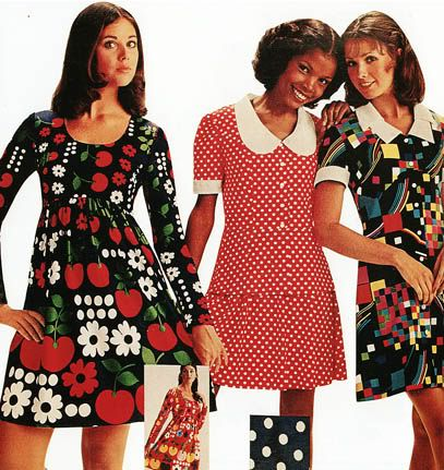 fashionable clothing from the sears catalogs: early 1970s...my high school days.... I think I had the red polka dot one....