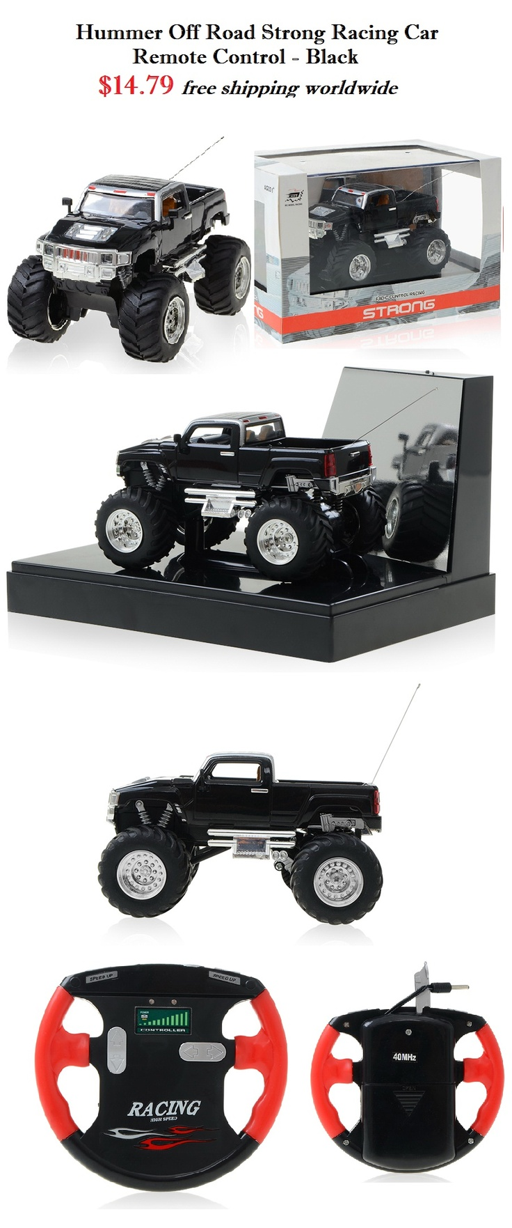 Black Hummer Strong Racing Car - Remote Control $14.79 #hummer #black #strong #racing #car #remote #control