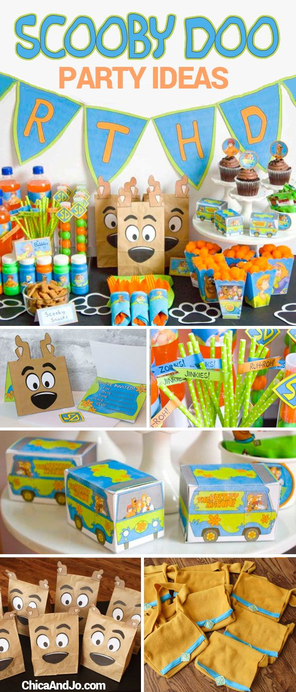 Scooby Doo birthday party ideas including party favors, invitations, banners, games, and more! | Chica and Jo