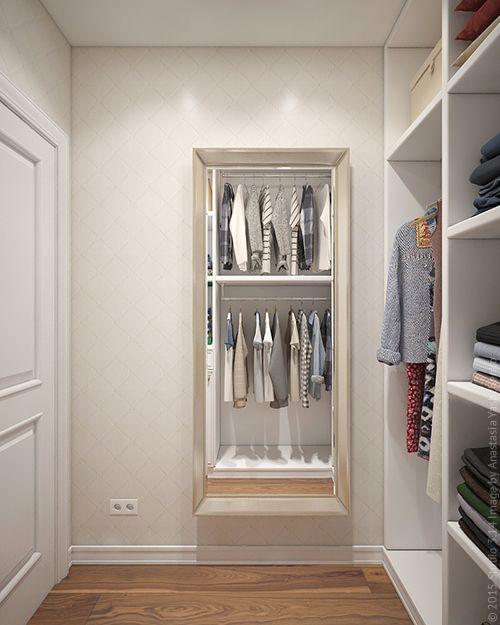 Еще одно большое зеркало висит в гардеробной.