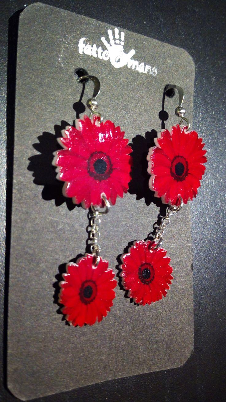 Orecchini fiori rossi fatti a mano di NeverEndBijoux su Etsy