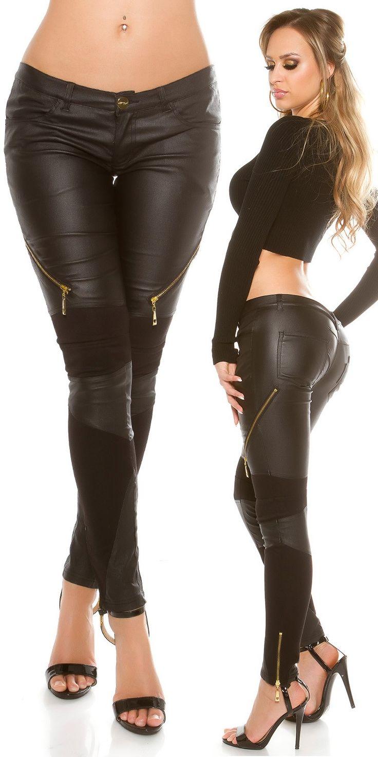 Black Zip Leather Look Skinny Pants - Wet Look Ladies Pants Online - Clubwear Online. R1195.00  http://fashionhub.co.za/black-zip-leather-look-skinny-pants-by-koucla.html