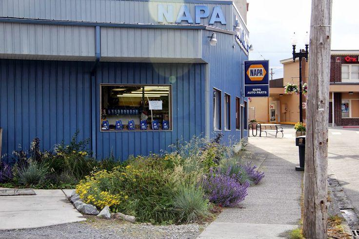 NAPA Auto Parts store - the only NAPA store in North America with a rain garden.  Eatonville, WA - US Rain Garden Capital.