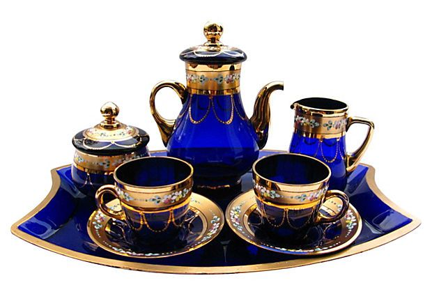 Gilded Cobalt Glass Tea Set, 6 Pcs on OneKingsLane.com I LOVE cobalt glass... BEAUTIFUL set!