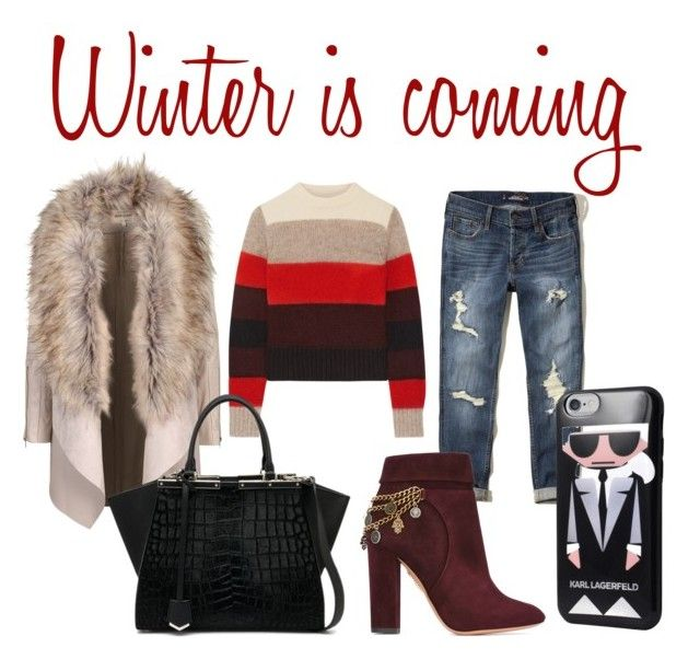 """Winter look"" by superficiales on Polyvore featuring moda, rag & bone, Hollister Co., Aquazzura, Fendi, Karl Lagerfeld, Winter, look, jeans y karl"