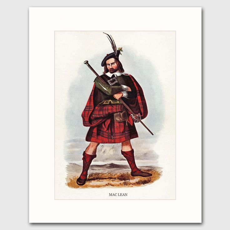"""MacLean Clan, Scottish Last Name Art w/Mat (Traditional Highland Dress Wall Decor) --- Matted Print. MacLean Clan Print w/Mat, Family Last Name Wall Art ~ One in a series of 50+ Scottish decor surname prints """"MacLean"""" fine art print (attached to a bevel-cut mat) of an R.R McIan Victorian illustration. Unframed giclee print. Printed on premium matte paper with archival ink. Mat Size: 8""""x10"""" white exterior mat, 6""""x8"""" interior window. Ready-to-frame mat fits 8x10 frames. Frames not included...."""