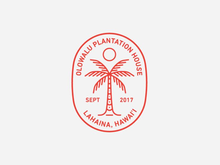 Palm Tree Olowalu Plantation House, logo, badge, mockup, line art, vector, circle, red, white, sun, wave, texture, vintage