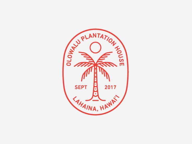 Palm Tree Olowalu Plantation House, logo, badge, mockup, line art, vector, circle, red, white, sun, wave, texture, vintage