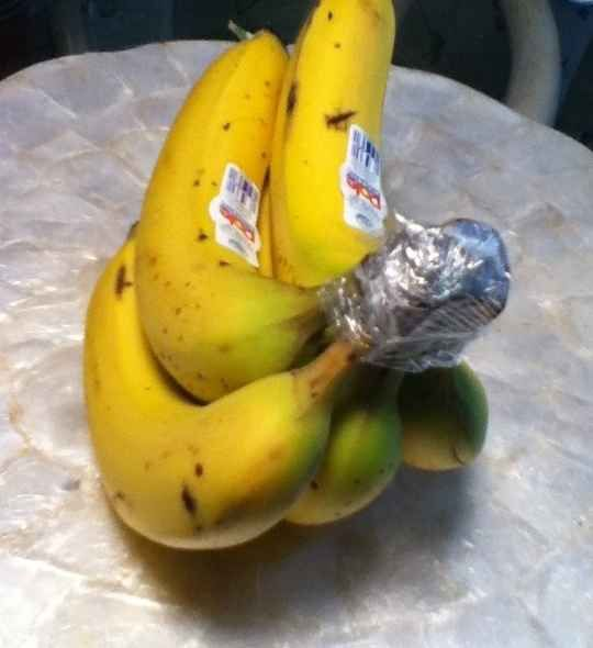Wrap the top of your bananas with plastic wrap and they'll last four to five days longer.