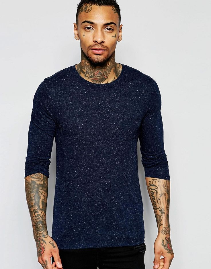 Asos linen mix muscle fit long sleeve tshirt at