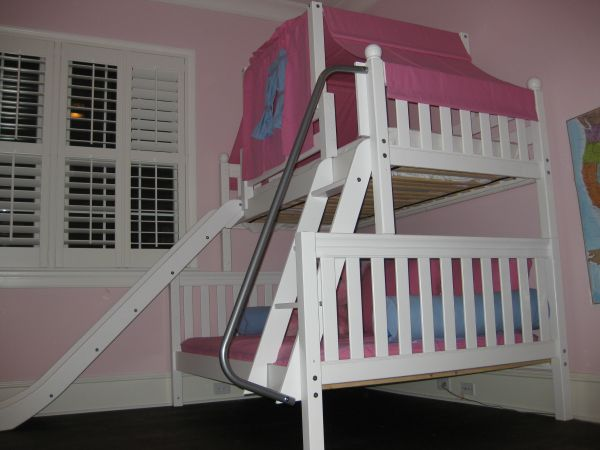 Add Slide & Accessories to this twin over full white bunk bed with slide  for a