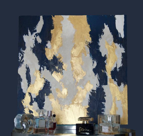 Abstract Painting Original Acrylic Art: Navy &Gold by EunieArt