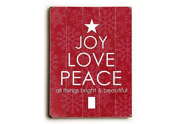 Joy, Love, Peace on OneKingsLane com Christmas